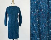 Sale 25 Off 1960s Vintage Blue Speckled Knit Dress. 60s Marled Sweater Dress (XS, S)