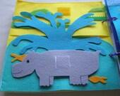 Hippo Splash- Quiet Book Page /  Custom Quiet Book / On the Go / Activity Book / Children's Quiet Book / Quiet Book / Gift For Niece /