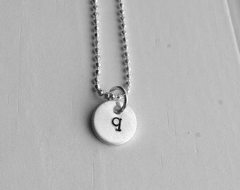 On Sale Sterling Silver Initial Necklace, Tiny Letter q Necklace, Initial Pendant, Personalized Jewelry, Sterling Silver Jewelry, All Initia