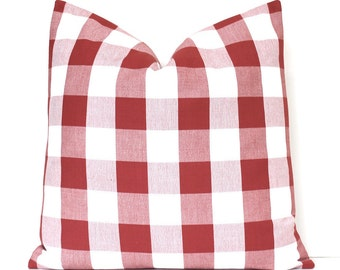 Modern Red Buffalo Check Designer Pillow Cover Accent Throw Cushion tartan farmhouse country cabin rustic holiday plaid gingham white brick