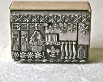 Letterpress Type Ornaments or Dingbats with a Christmas Theme for Printing Stamping and Decor