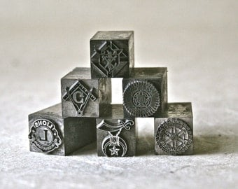 Lodge or Club Symbols in Vintage Letterpress Type for Printing Stamping and Decor