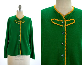 Vintage 1960's Green and Gold Ruffled Button Up Cardigan Sweater Retro/Preppy Women's Medium
