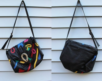 Vintage Vtg Vg 1980's 80's RADICAL Multicolored Chunky Black Purse Retro High Fashion Hip Hop Women's Accessories