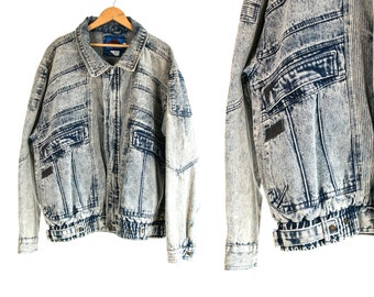 Vintage 1980's ACID WASH Zip Up Jacket by Horizon with Leather Accents Men's Size Extra Large XL Hipster/Grunge/Retro/Street Fashion Vtg Vg