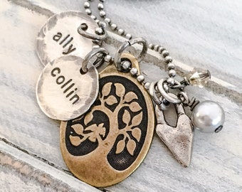 Mother's Day Family Tree Personalized Necklace -- Hand Stamped Mixed Metals Jewelry