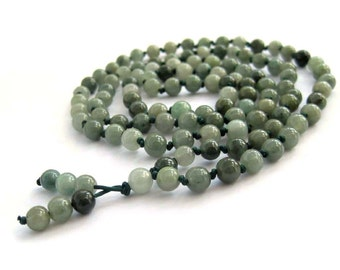 Tibetan Buddhist 108 6mm Jadeite Knot Prayer Beads Mala  ZZ406