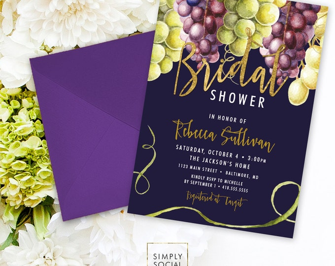 Wine Bridal Shower Invitation - Grapes Green Grapes Purple Grapes Wine Grapes Navy Faux Gold Foil Watercolor Boho Bridal Shower Printable