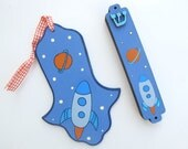 Hamsa and mezuzah set , blue and orange space ship, decorative hand painted jewish gift for boys room, kids wall art