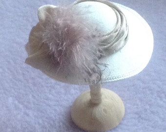 Ivory silk feather trimmed hat handmade in 1/12th scale dollhouse miniature