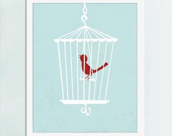 Bird Cage, Bird Art, Bird Poster