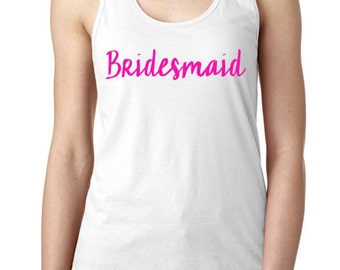 Bridesmaid Tank Top , Bride To Be Personalized Tank Tops, Wedding Party,  Racerback Tank