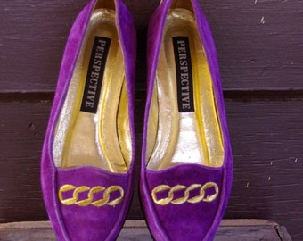 70% OFF CLOSING SALE Vintage 1980s Purple Gold Suede Leather Smoking Flats Shoes 7