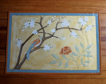Pastel Gold Chinoiserie Floor Cloth