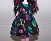 Handmade Monster High doll clothes - black with bright pops of color dress