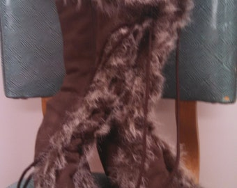 ON SALE Vintage Groove Brown Suede Boots with Faux Fur
