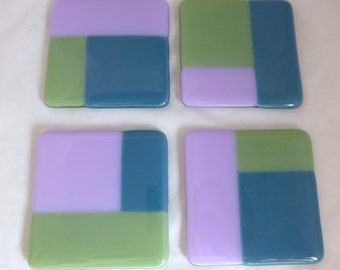 Fused Glass Celadon Green, Lilac and Dusky Blue  Coasters - set of 4