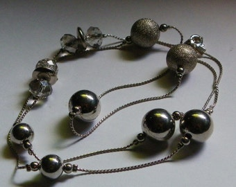 Silver Beaded Chain Necklace  920