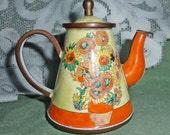 Collectible Kelvin Chen Enamel SUNFLOWER & Mums mini Teapot #3198 signed Vincent
