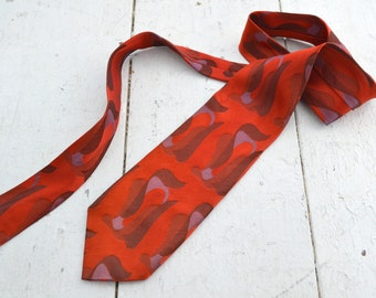 1960s Red Abstract Necktie