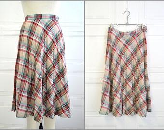 1970s Pleated Plaid Skirt