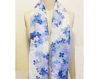 Blue Floral Cascade Silk Scarf 8 x 54