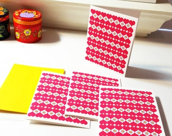 Hearts Set of 4 Blank Note Cards