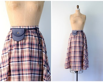 1970s bias plaid midi skirt with belt and pouch - vintage 70s / Navy Blue & red - preppy / ILGWU - retro