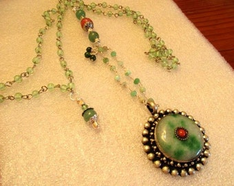 Great JADE & CORAL Domed Pendant Set in Sterling w/Jade Rosary Chain, CZECH Art Glass Rosary Chain, Coral and Green Jade Beads Necklace