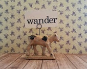 Farm animal decor,Auburn rubber antique toy,Cow place card holder,business card holder,Spring decor flashcard art