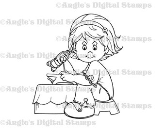 Daisy May Using A Microscope Digital Stamp Image