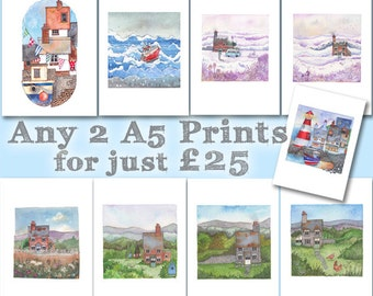 Any Two A5 Prints for Twenty Five Pounds - Artist Kate Brazier