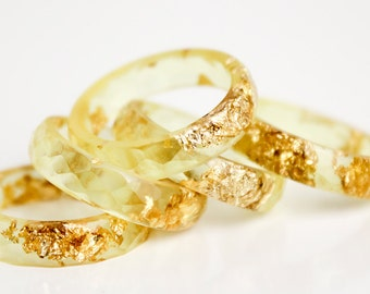 summer gold size 7.5 | thin multifaceted eco resin ring with metallic gold leaf