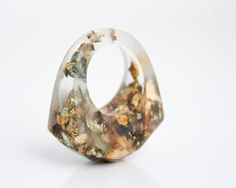 size 6.5 copper and gold variegated flake eco resin ring size 6.5