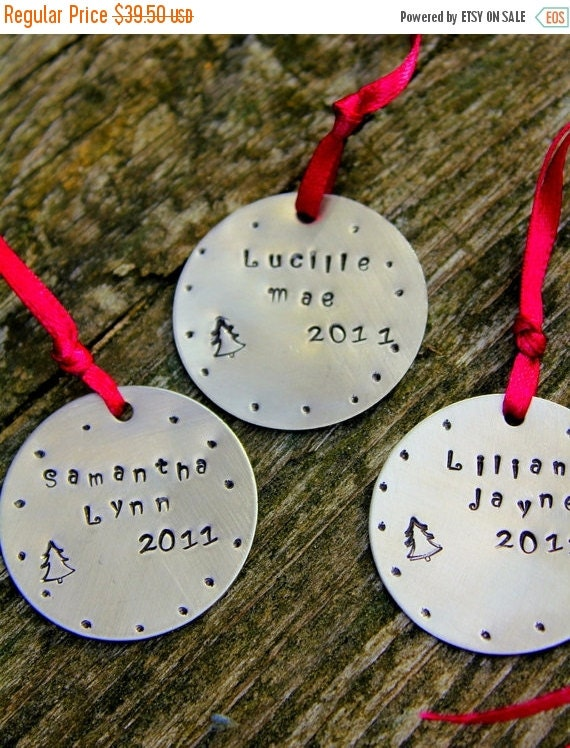SALE Holiday Ornament, Custom Childrens Gifts Christmas - THREE total, Holiday Decorations Christmas, Gift Co-Workers Family Friends,