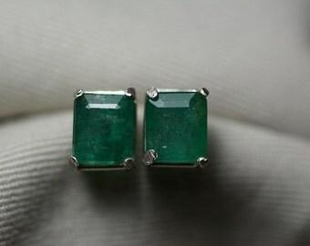 Emerald Earrings, Medium Green 3.15 Carat Genuine Emerald Stud Earrings Appraised at 2,500.00 Sterling Silver