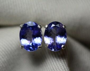Tanzanite Earrings, Natural Tanzanite Stud Earrings 2.81 Carats Appraised at 1545.50 Sterling Silver Blue Tanzanite Jewellery