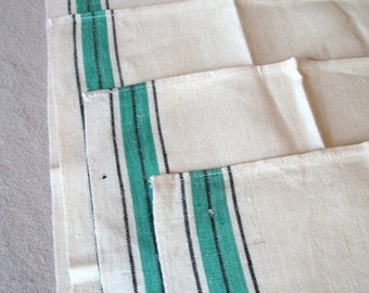 SALE15% Lot of 4 vtg striped kitchen towels, embroidered JV initials. Great condition.