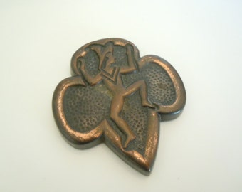 Girl Scout Brownie Paperweight Brownie Emblem Collectible Scout Memorabilia