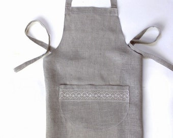 Natural Gray Linen Apron with Pocket - Beautiful & Practical - Rustic Gift Idea - Back to School Essentials