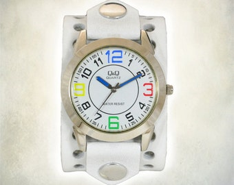 Womens's White Leather Cuff Watch
