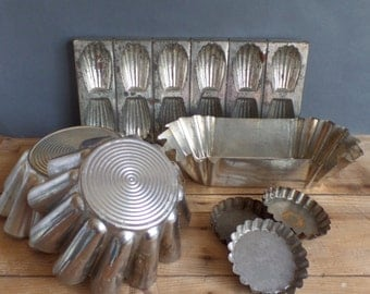 Vintage french metal 7 baking tins  Cake moulds  Madeleines mould
