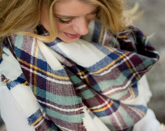 Monogrammed Blue/Wine Blanket Scarf - Great addition to the fall wardrobe