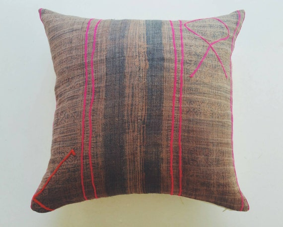 brown pink and orange hmong pillow cover by habitationboheme. Black Bedroom Furniture Sets. Home Design Ideas