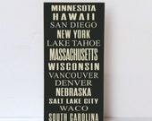 Custom Subway Sign, Personalized Wood Sign, Places You've Been, Family Wall Art, Customized Wood Sign, Custom Wall Art, You Choose Words