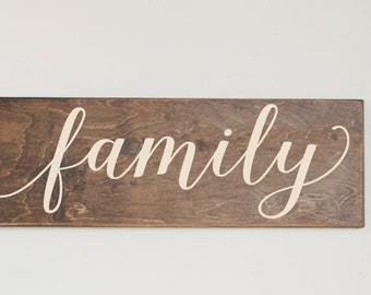 Family Wood Sign Stained Wood Sign Home Decor Wood Stain Sign Art