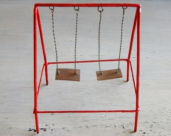 Miniature Swing Set Fairy Garden Accessories Fairy garden swing Mini Red Swing Set Outdoor playground