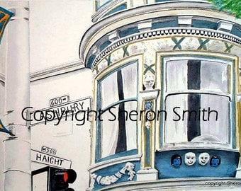 Print of Originlal San Francisco Haight Ashbury Watercolor - Love the Haight