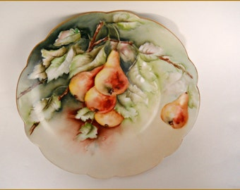 "Antique Rosenthal Porcelain Display Plate Hand Painted Fruit/Pears - 8"" ~ June SALE"