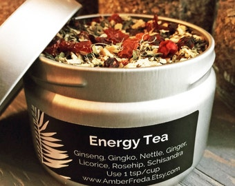 Organic Energy Tea, Herbal Tea, Tea for Natural Energy Boost and Stamina, Handblended Tea - Ginseng, Gingko, Nettles, Ginger, Licorice+